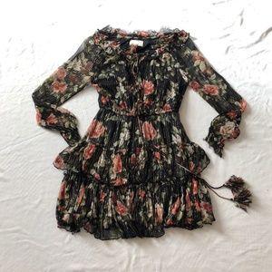 Anthropologie Dress floral shimmery semi sheer SM